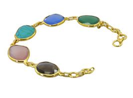 captivating Multi Gemstone Gold Plated Multi Bracelet genuine supply US gift - $17.86