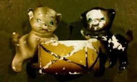Vintage Porcelain Cats Playing Drum Creepy Strange Lipper Mann Inc Vtg A... - $49.49