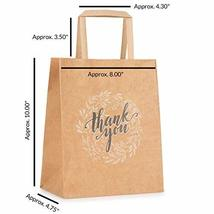 Kraft Paper Bags Bulk with Handles and Printed Thank-You Design for Gift NO BOWS image 7
