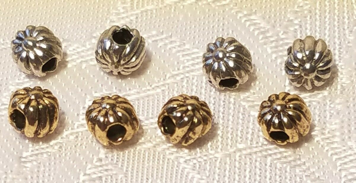 5pcs. Flowers Pewter Metal Bead 5pc Fine Cast Pewter Made in USA