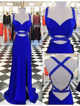 Elegant Royal Blue Split Side Long Prom Dresses with Beaded - $168.99+