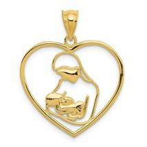 Été Solde 14K or Jaune Sur Mère & Enfant Pendentif Coeur Cadeaux pour Elle - $46.33