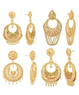 South Indian Ethnic Gold Plated Chand Bali Earrings Wedding Women Party ... - $8.90+