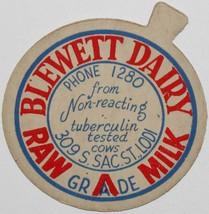 Vintage milk bottle cap BLEWETT DAIRY Pasteurized Raw Milk Lodi Californ... - $9.99