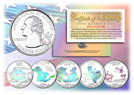 2004 US Statehood Quarters HOLOGRAM *** 5-Coin Complete Set *** w/Capsul... - $12.82