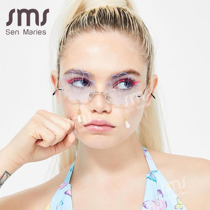 S women 2020 fashion shell designer steampunk sunglasses men pearl tassel frameless punk glasses