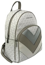 Michael Kors Abbey Monogrammed PVC Medium Backpack Bright White - $456.14