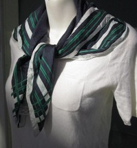 "COUNTRY CLUB SILK TWILL SCARF PP CIRCLE LOGO with STRIPES Vintage ITALY 30"" - $14.24"