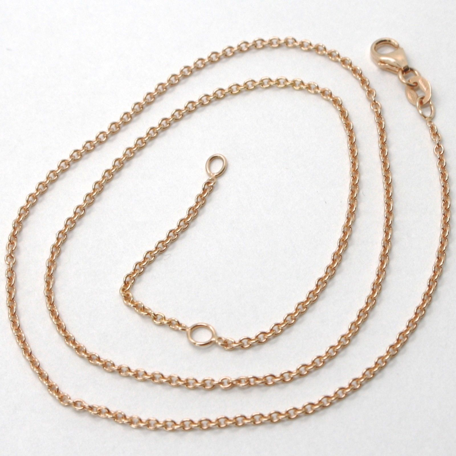 18K ROSE GOLD CHAIN 1.2 MM ROLO ROUND CIRCLE LINK, 15.75 INCHES, MADE IN ITALY
