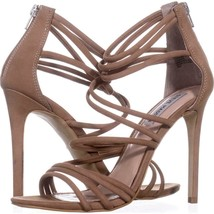 Steve Madden Santi Strappy Dress Sandals 715, Camel Leather, 8 US - $43.19