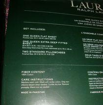 New LAUREN Ralph Lauren 4 Pc Deep Queen Sheet Set Dark Pink Multi Color Paisley image 3