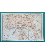 "SPAIN Murcia City Town Plan - 1913 Baedeker Map 4 x 6"" (10 x 15 cm) - $9.00"