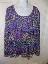 Justice Purple Cheetah Print Long Sleeve Shirt Size 12 Girl's EUC - $17.80