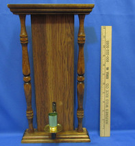 Vintage Wooden Candle Stick Wall Hanging Sconce Architectural Wood Style - $10.88