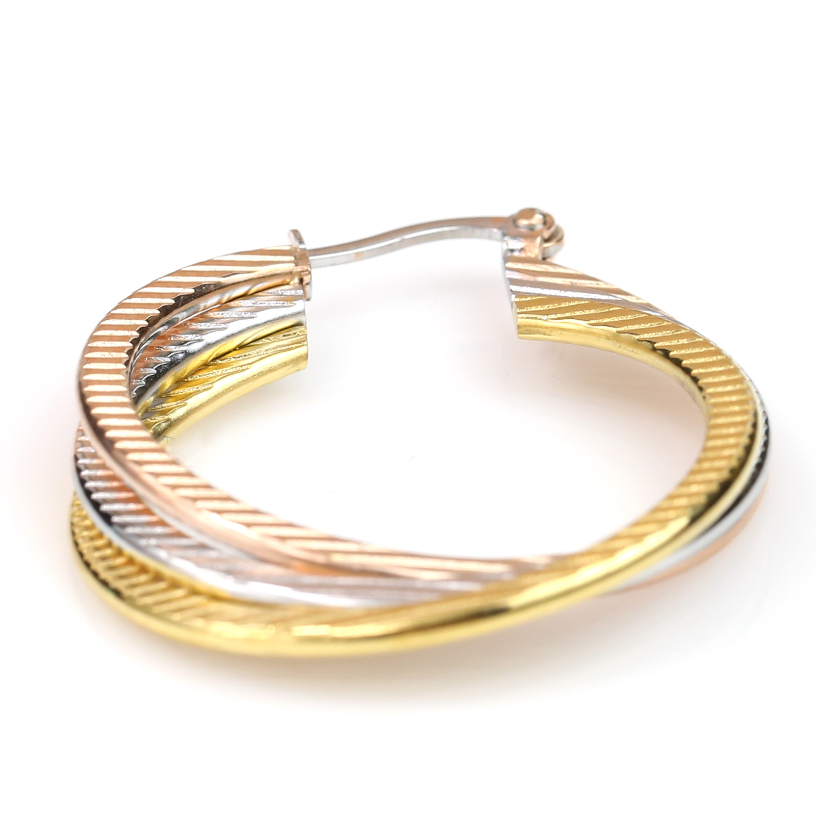 Twisted Tri-Color Silver, Gold & Rose Tone Hoop Earrings-United Elegance