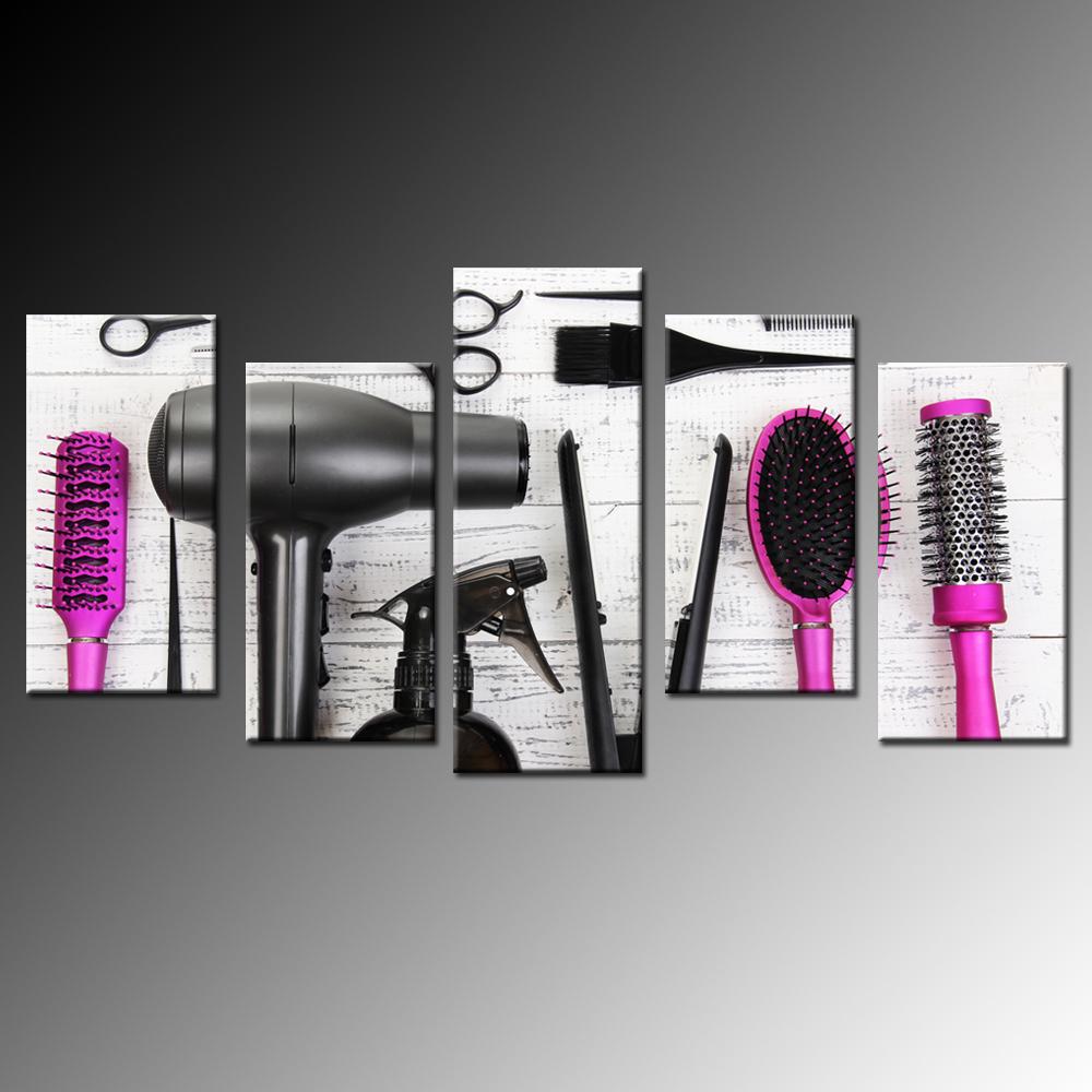 Hair Care Salon Comb Dryer 5 Piece Canvas Wall Art