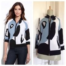 St. John Yellow Label sz S Cheetah Intarsia Knit Zip Up Bomber Sweater J... - $86.01