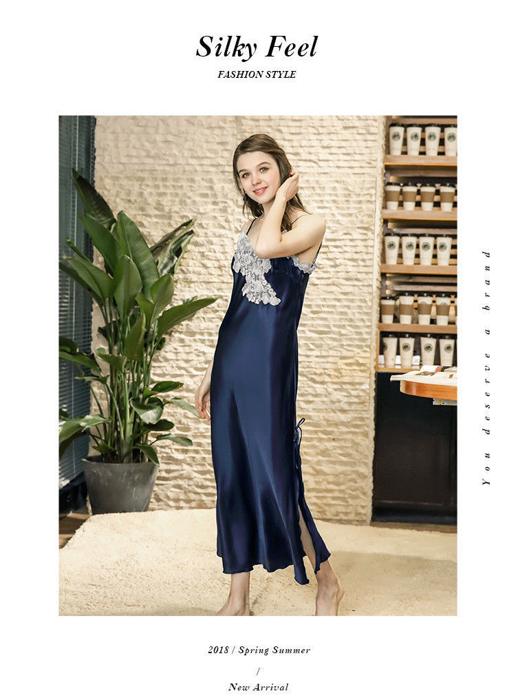 0b50f32c242 ... Women Long Slips Nightwear Plus Size Silk Satin Sleepwear Nightgown Sexy  Knitted