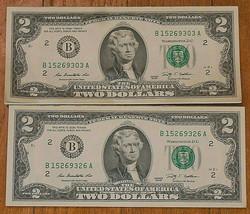 Lot of 48 Consecutive Serial Number, Series 2009, Uncirculated $2 Bills. - $145.08