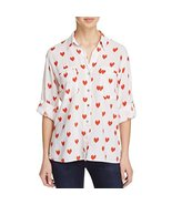 4Our Dreamers Women's Heart Print Buttondown Roll-Tab Shirt (Large, Whit... - $13.12