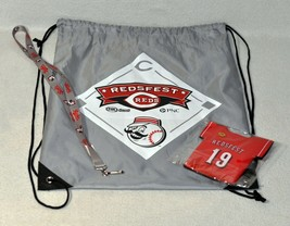 2019 Cincinnati Reds Redsfest Drawstring Backpack, Lanyard, And Koozie 1... - $14.85