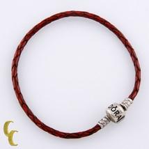 """Pandora Cuero Rojo Pulsera W/ Plata de Ley Cierre 8"""" Largo Usado - $49.44"""