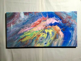 Abstract Modern Acrylic Pour Painting on Canvas 10 x x20 NEW - $59.95