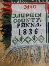 1836 antique SIGNED MC DAUPHIN COUNTY PENNA pa COVERLETT folk art bird p... - $899.00