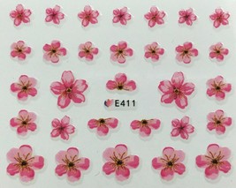 Nail Art 3D Decal Stickers Pretty Pink Flowers E411 - $3.09