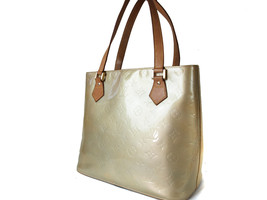 Auth LOUIS VUITTON HOUSTON Patent Leather Yellow Beige Tote Bag LH12543L - $189.00