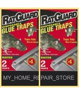 4 FOR ! FREE S&H! 2 BOXES OF 2 RAT GUARD INSECTICIDE FREE BAITED GLUE TRAPS - $9.44