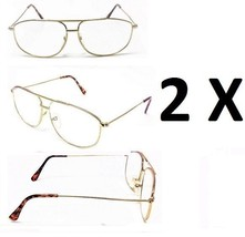 2 Pairs Gold Metal Frame Aviator No Line Full Clear Lens Reading Glasses  - $9.95