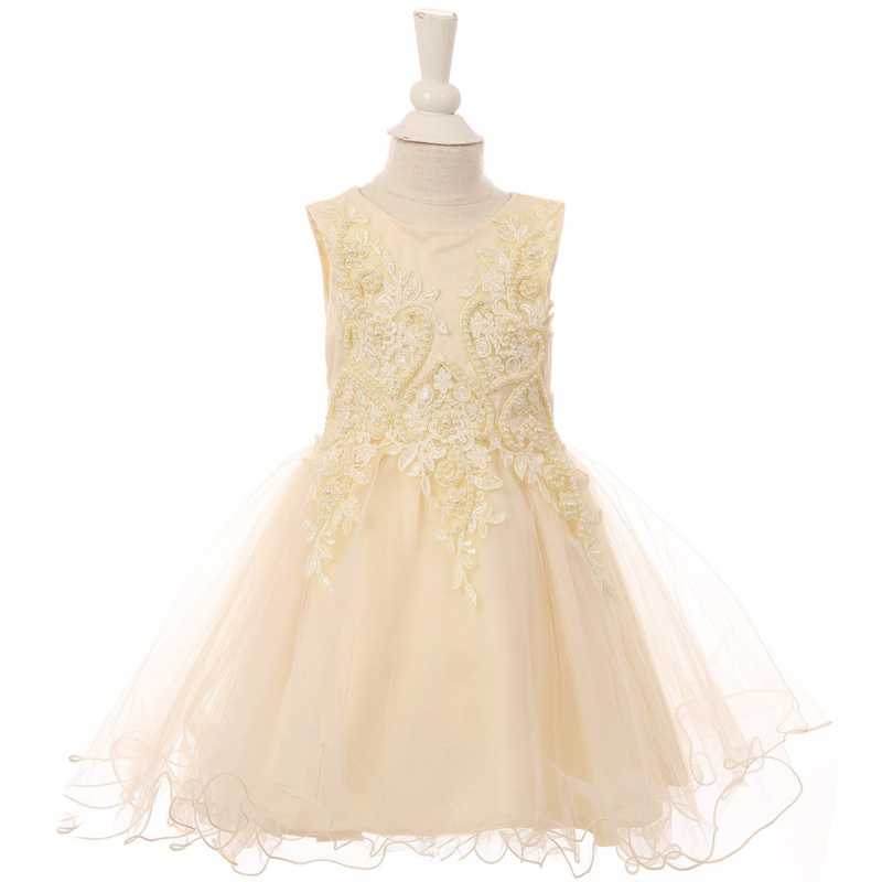 White Pearl Sequin Embroidery Lace Satin Wired Glitter Tulle Baby Girl Dress