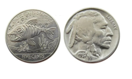 Hobo Nickel Fish Ocean Beach Prehistoric Buffalo American US Nickle Coin - $10.44