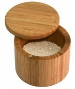 Sea Salt Keeper Storage Kosher Spice Rack Bamboo Chest w/ Lid Tight Seal... - $27.71