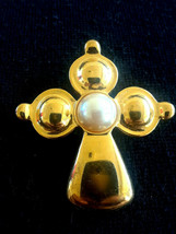 Premier Designs Maltese Celtic Faux Pearl Gold Tone Cross Pin Brooch Pen... - $7.99