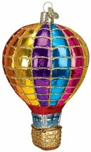 OLD WORLD CHRISTMAS HOT AIR BALLOON RAINBOW PATTERN GLASS XMAS ORNAMENT ... - $19.88