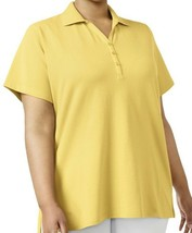 Top 2X Plus Karen Scott NWT Textured Split Neck Polo Yellow Stretch J332 - $21.58