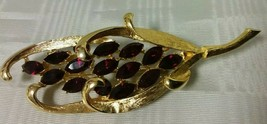 Vintage Goldtone & Red Garnet Rhinestone Leaf Brooch Pin - Signed BSK - $9.89
