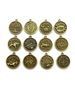 """SET OF 12 WESTERN ZODIAC CHARMS 0.7"""" 18mm Round Pendant Amulet Brass Hor... - $7.95"""