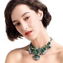 Holylove Gorgeous Statement Necklace Chain in Green Glass Beads & Crysta... - $15.59