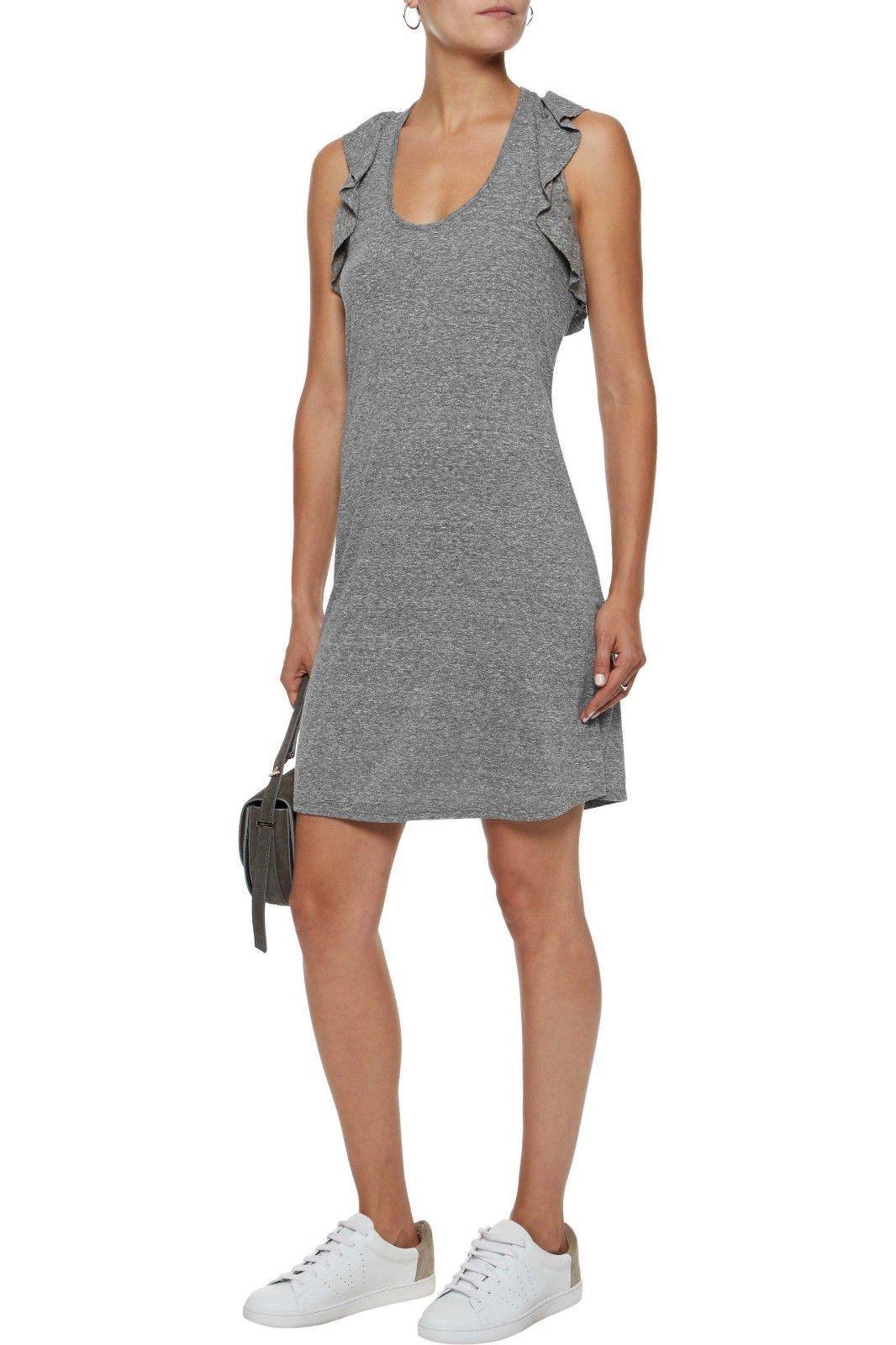 IRR Current Elliott Shirt Dress Ruffles The Cadence Scoop-Neck Heathered  *1
