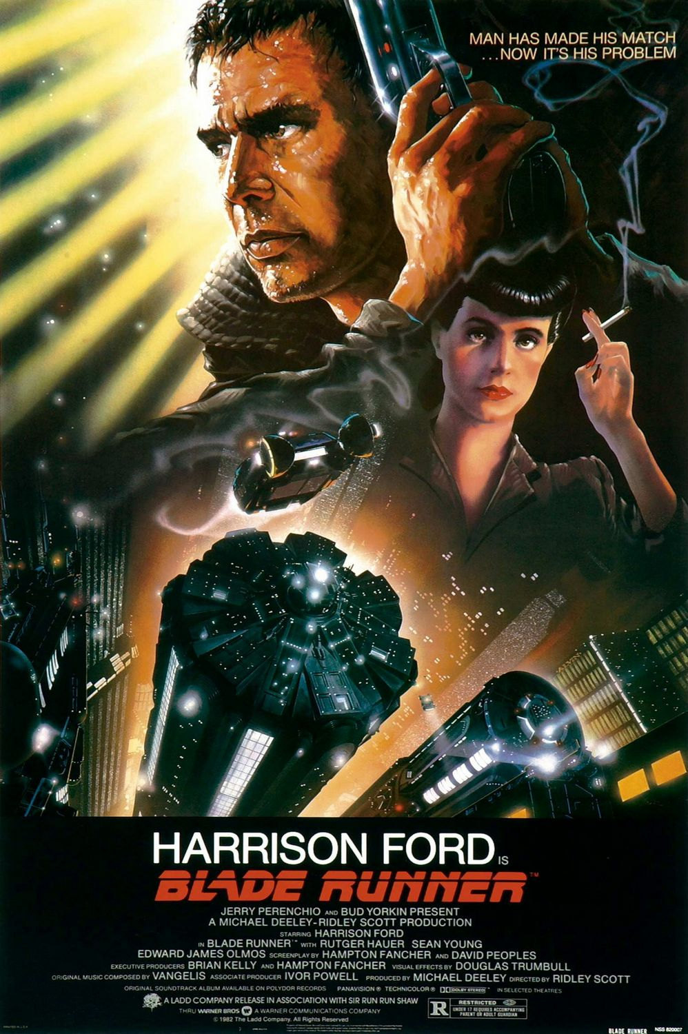 BLADE RUNNER MOVIE POSTER 27X40 HARRISON FORD SEAN YOUNG PHILIP K. DICK