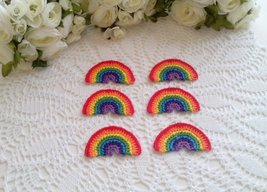 6 Crochet Rainbows in traditional colors - 3 x 1 3/4 inch or 7.5 x 4,5 cm - $6.00