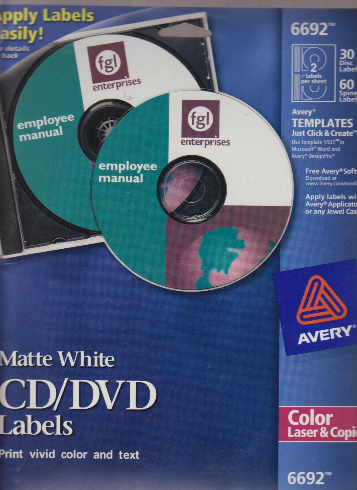 Primary image for Avery Matt White 6692 CD Labels 30 Disc Labels / 60 Spine Labels