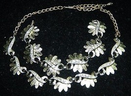VTG SARAH COVentry Gold Tone Clear Rhinestone Leaf Necklace Bracelet Set - $39.60