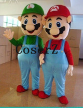 Super Mario Luigi Brothers Mascot Costume Fancy Dress Up Party Cute Cosplay cost - $159.00