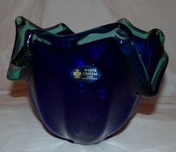 Murano White Crystal Glass Art Piece Italy Bowl Blue Green Hand Made - $41.61