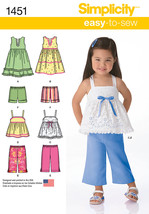 Simplicity Easy-To-Sew Toddler Dress Top Pants & Shorts-1/2-1-2-3-4 - $14.96