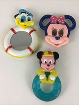 Disney Baby Toys Mickey Minnie Mouse Donald Duck Teether Rattle Mirror V... - $19.56